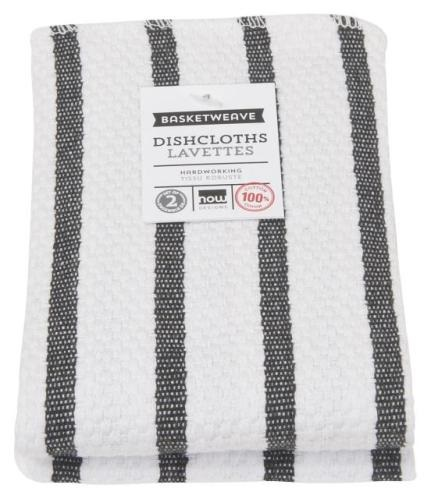 Set of 2 Black Basketweave Stripe Dishcloths