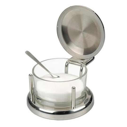 Stainless & Glass Salt or Cheese Server