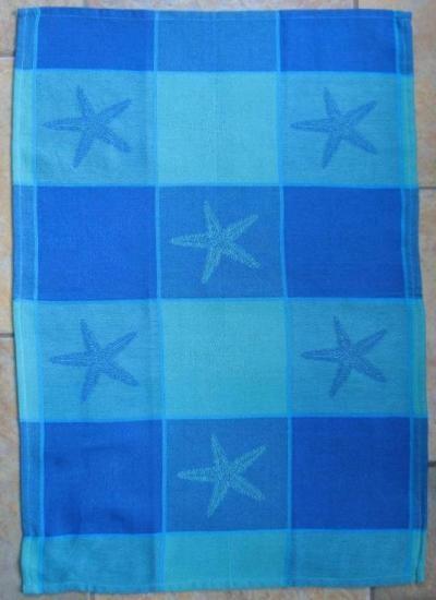 Blue/Green Starfish Jacquard Dishtowel