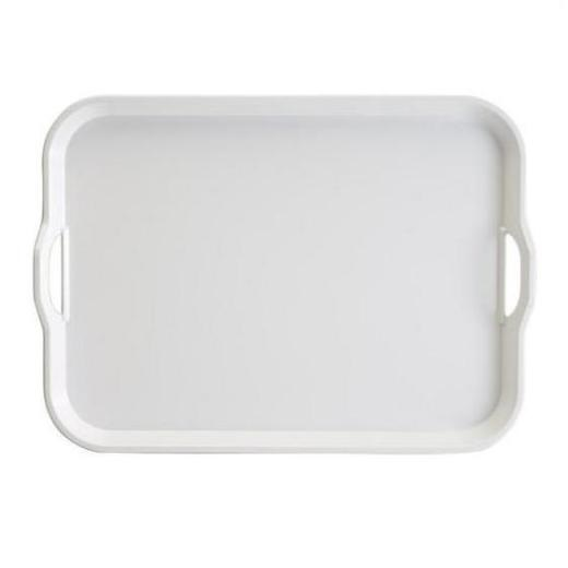 White Melamine Serving Tray with Handles