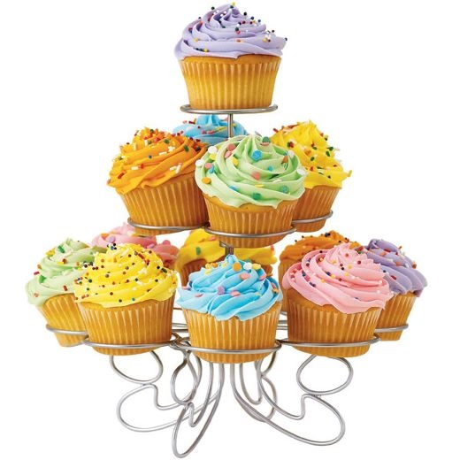 Small Silver Tiered Cupcake Stand – Holds 13 Cupcakes
