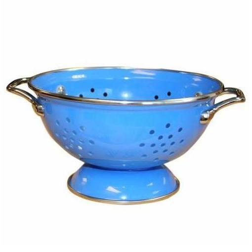 1.5qt Azure Blue Enamel Colander