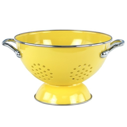 1.5 Quart Lemon Yellow Enamel Colander