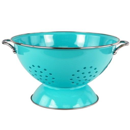 3 Quart Turquoise Enamel Colander