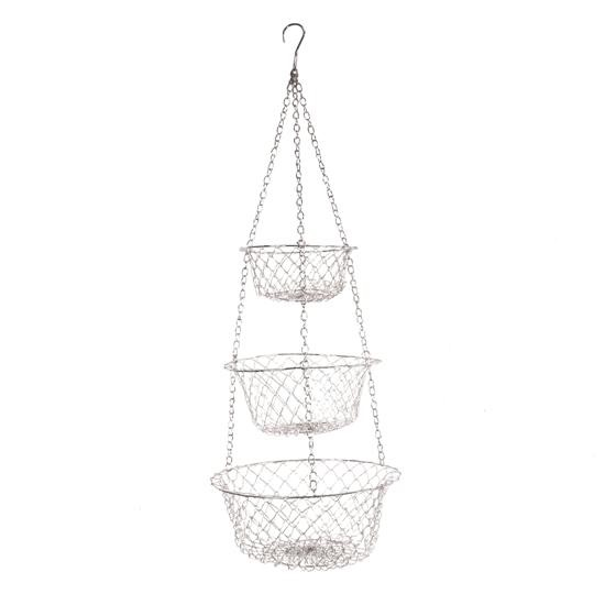 White Three Tier Hanging Basket
