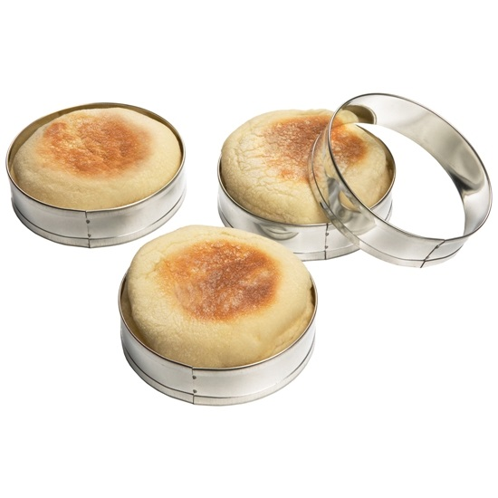 English Muffin/Scone/Crumpet Rings Tinned Steel Set of 4