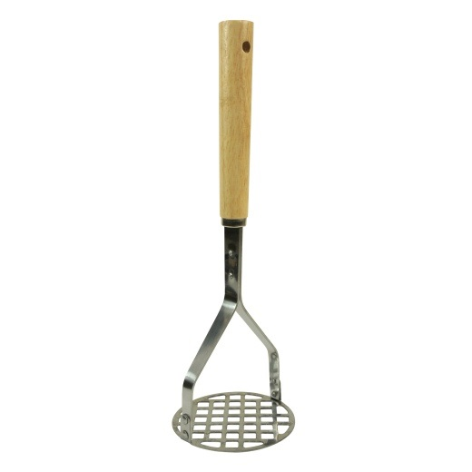 Wood Handle Potato Masher with Round Masher Plate