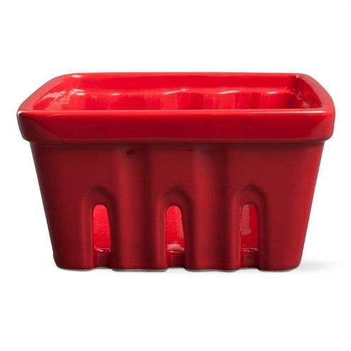 Large Red Ceramic Berry Basket
