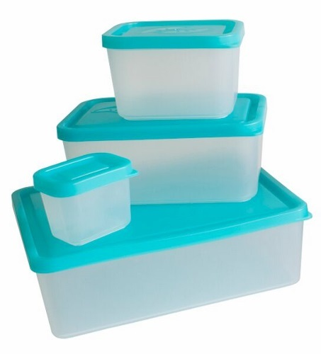 Set of Four Bento Food Containers Turquoise