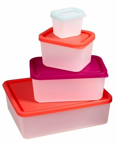 Set of Four Bento Food Containers Sorbet