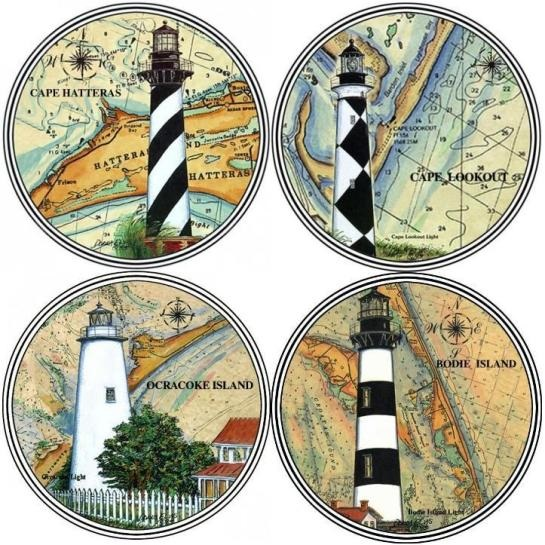 Assorted NC Lighthouse Sandstone Coasters