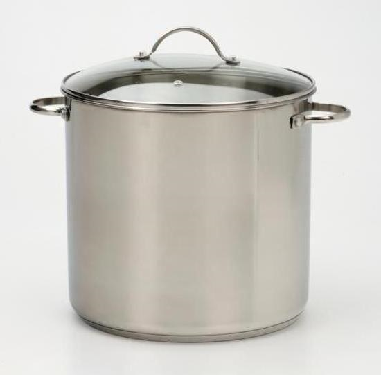 16 Quart Tri-Ply Stainless Steel Stockpot with Glass Lid