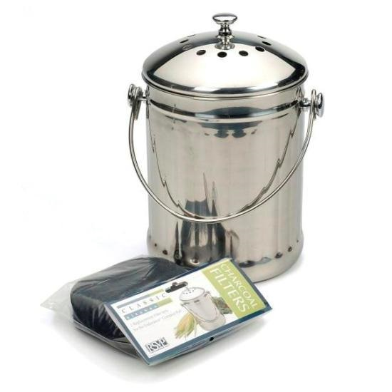 Stainless Steel Compost Bucket with Charcoal Filter