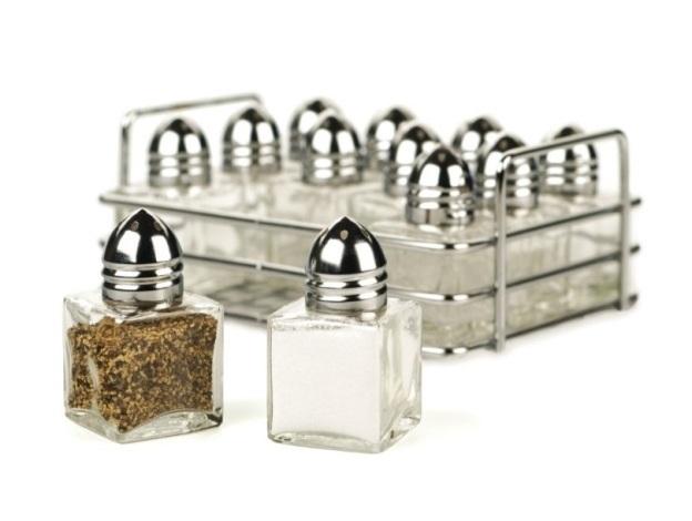 Rack of 12 Mini Individual Salt and Pepper Shakers