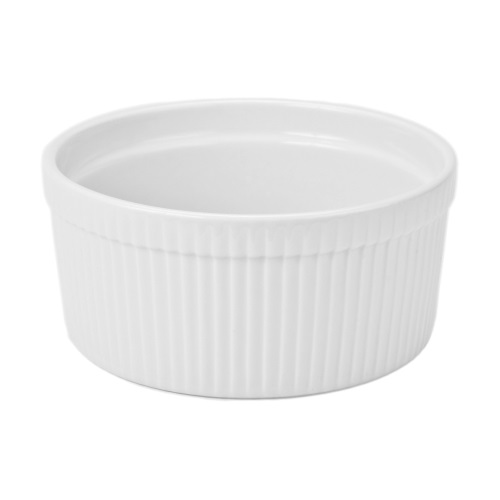 2 Quart White Ceramic Souffle