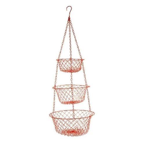 Red Metal Three Tier Hanging Basket
