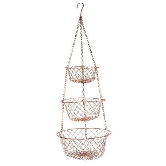 Copper Wire Three Tier Hanging Basket