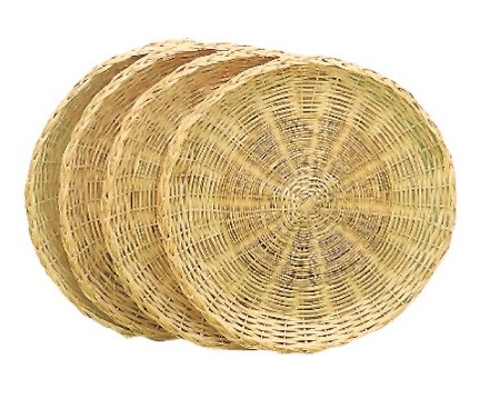 Natural Rattan Paper Plate Holders Set/4