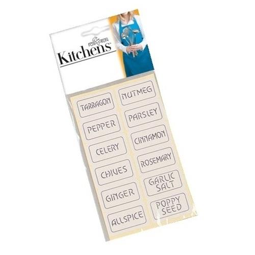 Plain Spice Labels Set of 48
