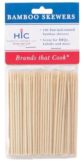 4″ Bamboo Skewers Pack of 100