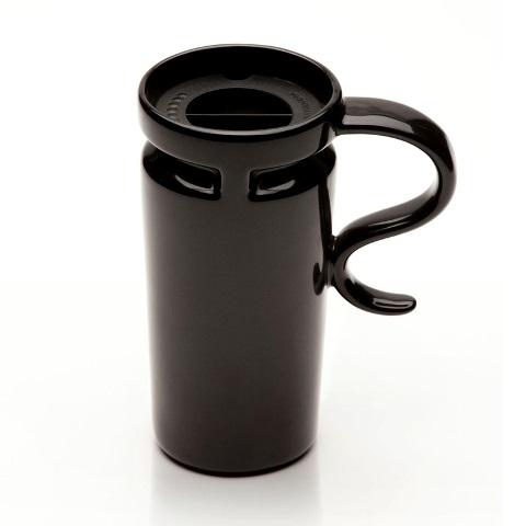 18 oz Slim Black Ceramic Travel Mug