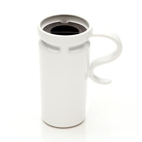 18 oz Slim White Ceramic Travel Mug