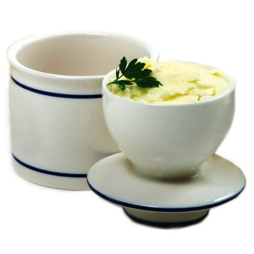 Ivory/Blue Ceramic Butter Keeper