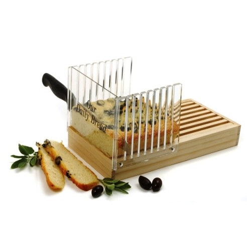 Lucite and Wood Bread Slicer/Crumb Box