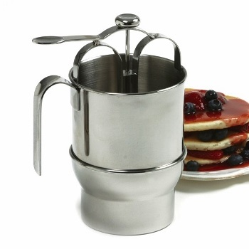 Jumbo 4 Cup Stainless Steel Pancake Dispenser with Holder