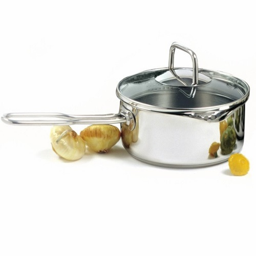 1.5 Quart Stainless Tri-Ply Saucepan with Spout and Lid