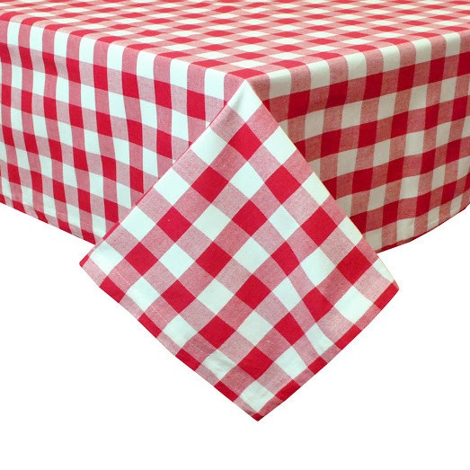 Red and White Check 60″ x 84″ Tablecloth