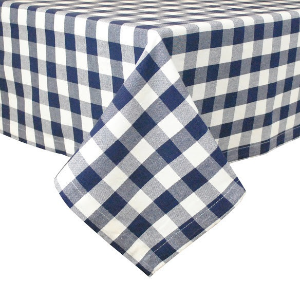 Navy and White Check 60″ x 84″ Tablecloth