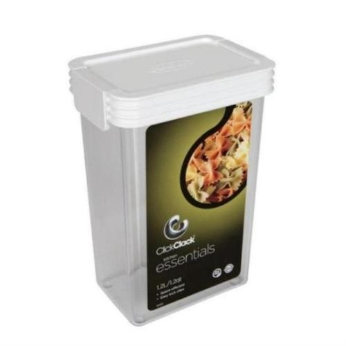 Click Clack Air Tight Canister Square 1.25 Quart White