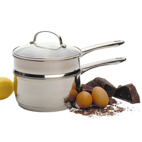 2 Quart Tri-Ply Stainless Double Boiler with Glass Lid