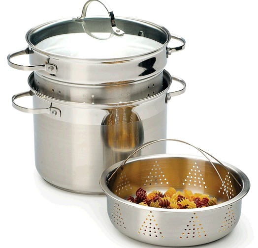 8 Quart Stainless Steel Steamer Pot with Pasta Insert