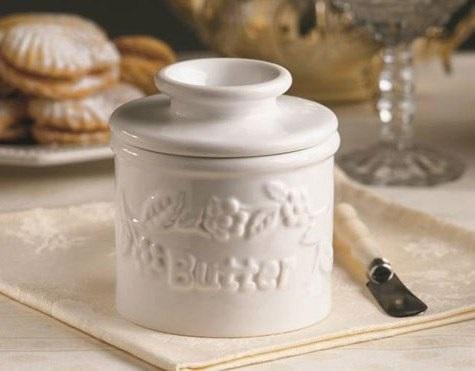 White Embossed Ceramic Butter Bell