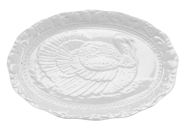 17.5″ White Ceramic Turkey Platter