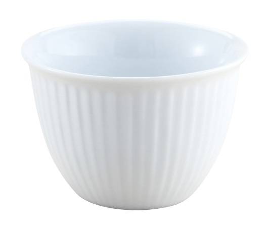 5 oz Ribbed White Ceramic Custard Cup