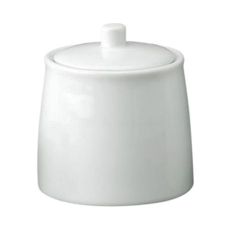 White Porcelain Demi Sugar Bowl with Lid