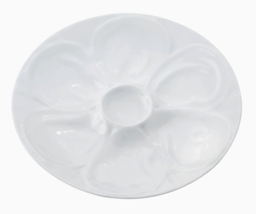 9″ White Porcelain Oyster Plate