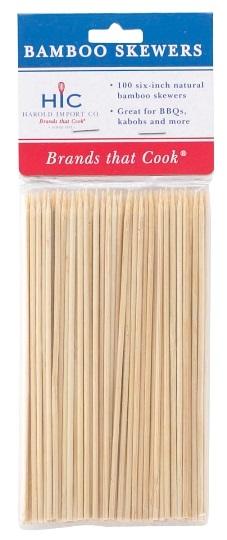 6″ Bamboo Skewers Pack of 100