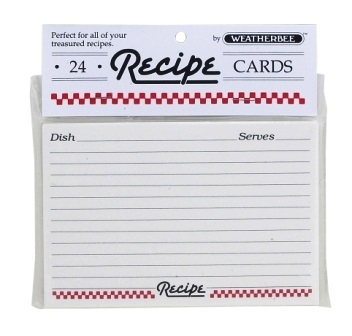 4″ x 6″ Recipe Cards Red Checked Border Pack of 24