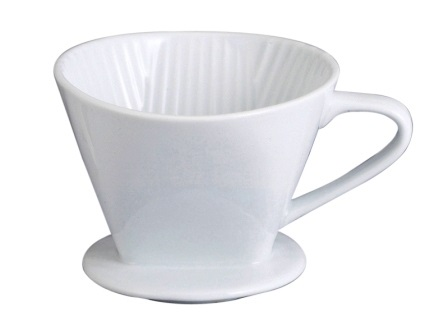 4 Cup White Ceramic Coffee Filter Cone
