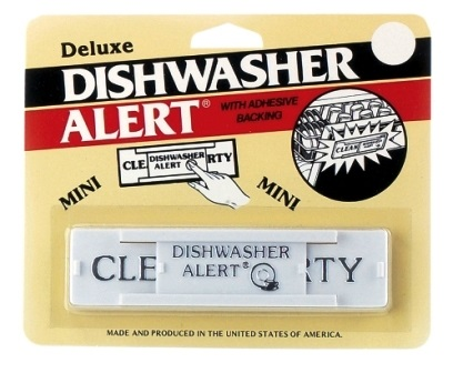 Black Plastic Deluxe Dishwasher Alert with Adhesive Backing