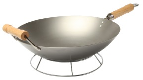 14″ Carbon Steel Round Bottom Wok with Long Wood Handle