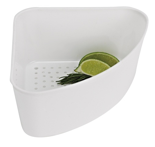 White Plastic Corner Sink Basket