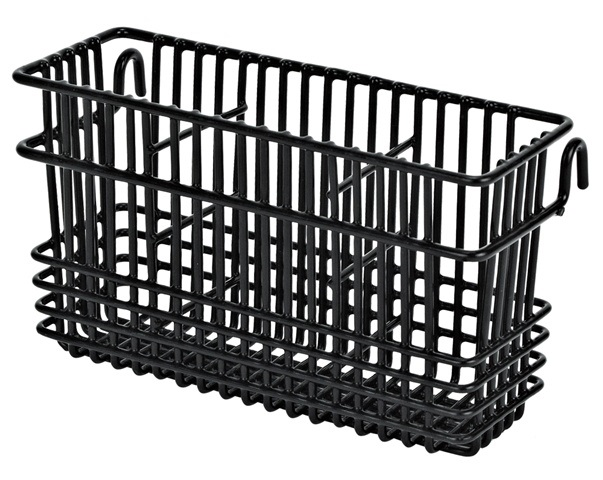 Black Plastic Coated Wire 3 Compartment Utensil Basket