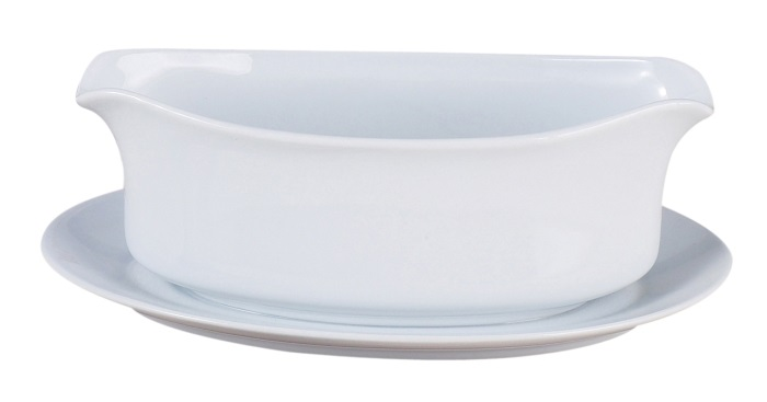 White Ceramic Gravy Boat with Attached Plate