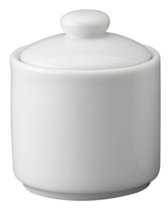 8 oz White Porcelain Sugar Bowl with Lid