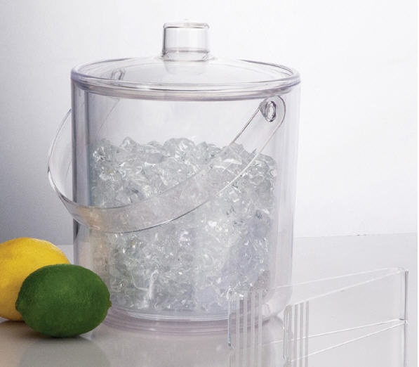 Clear Acrylic Insulated Ice Bucket With Tongs
